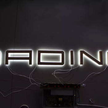 led signs indoor galvanized metal 3d wall letter block RGB Halo Lit Letters Sign