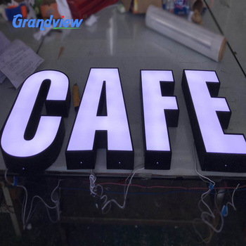 Hot sales wholesale coffee shop hanging outdoor advertising custom 3d acrylic led sign board