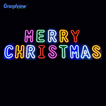 Outdoor waterproof hanging letter led neon sign bar Merry Christmas led flex neon led lighted outdoor merry christmas sign