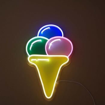 Ice cream custom neon sign with many color and colorful acrylic board