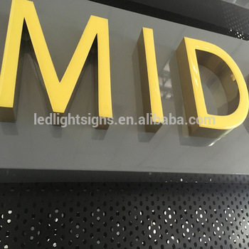 Glossy color face epoxy resin mirror gold stainless steel side led sign board wooden letters neon sign letters led signs china