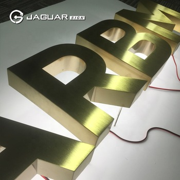Factory Custom Titanium Coating Brushed Halo Lit Stainless Steel Letters