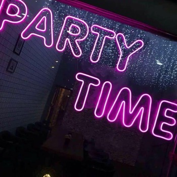 Led flex pink neon letters nfl party time club bar decor custom neon signs