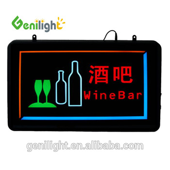 Animated Customers Attractive Wine Bar Neon Lights LED Sign