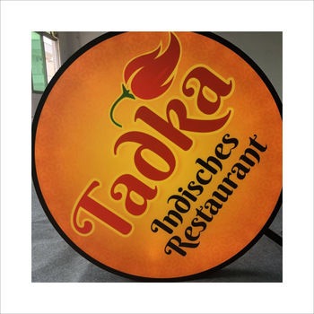 Outdoor Round Vacuum Forming Light Box Plastic Rotating Advertising Signs