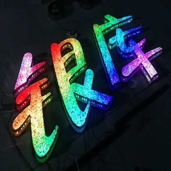 custom electric RGB full color sign banner LED letter alphabet wifi bluetooth control