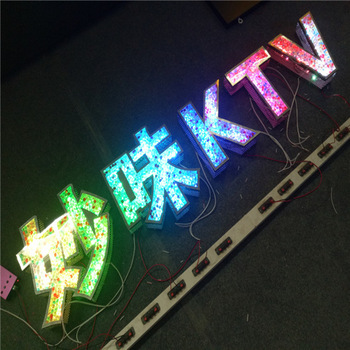 stainless steel diamond RGB light up letters led custom signs WFI Bluetooth control