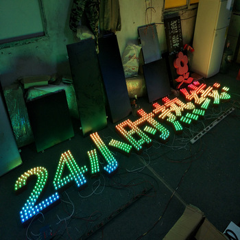 24 hours open RGB letrero Led bulbChannel Letter Frontlit Signage Led Light Sign board Letters wifi bluetooth control