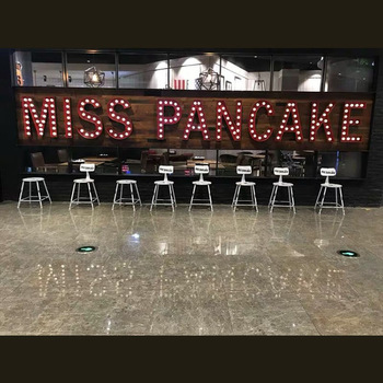Restaurant store front sign 4ft outdoor lighted signboard metal bulb signage led marquee letter