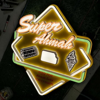 Embossing Acrylic signage luminous 3d word restaurant light up letters custom led signs