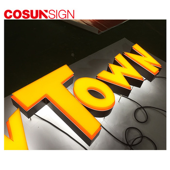 Custom illuminated backlit and front lit acrylic 3d outdoor advertising