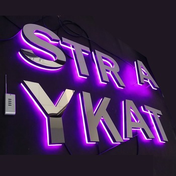 Outdoor advertising big channel rgb changeable led letters 3d sign /used lighted sign letters