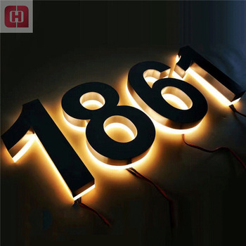 Illuminated backlit stainless steel house numbers 3d led letter lighted signs