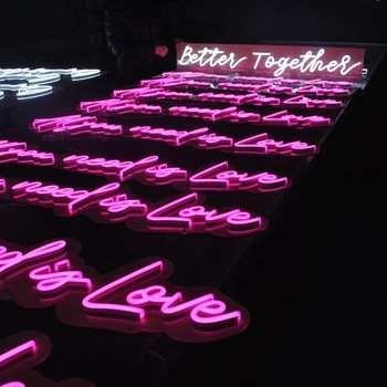 Custom LED Acrylic Neon Sign with acrylic backing and pink lettering with US electric plug
