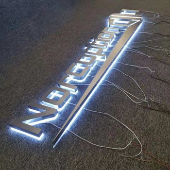 Custom 14000K cool white lights letters brushed silver metal backlit acrylic led sign