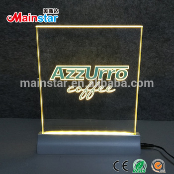 indoor custom made portable counter top edge lit acrylic led sign holder