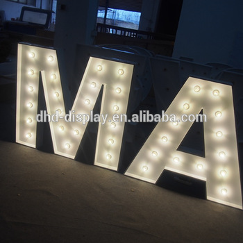 Super bright outdoor waterproof metal acrylic marquee led letters large alphabet letters signs