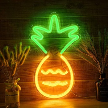 Custom Made Neon 3d Acrylic Sign Pineapple New Led Neon Sign Light Fruit Shop Sign