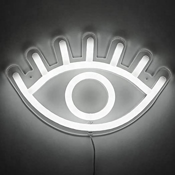 13 x 8 inches Eye LED Neon Light, Wall Hanging Room Decor, White Home Decor LED Neon Signs For Unique Rooms