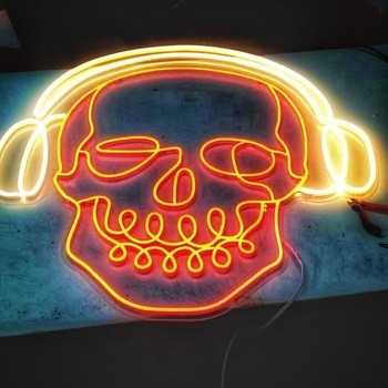 Sugar Cranial Led Outdoor Restaurant Hair Open Skull Pink Neon Light Sign Board For Home Bar