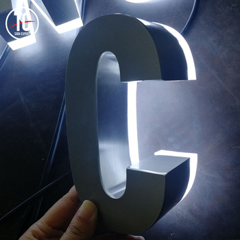 Flat face back lit led display letter sign for company name brand logo pattern