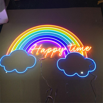 Shop Modern Acrylic Art  Over The Rainbow New Home Sign Custom Made Silicon Led Neon Flex 12v  With Wall Hanging