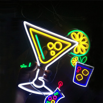 Portable Tattoo Martini Fruit Led Light Wholesale Beer Diy Party Night Club China Custom Cocktail Neon Flex Sign For Wine Bar