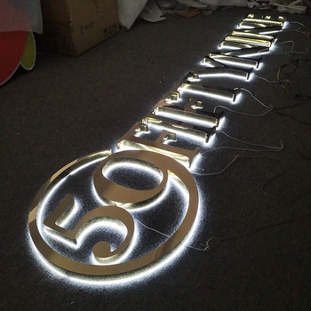 3d custom metal stainless steel halo lit letter illuminated led backlit logo sign for Outdoor and  indoor