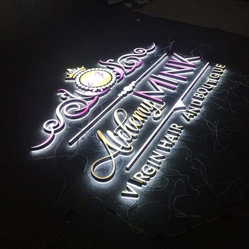Outdoor Advertising Light Design Frontlit Alphabet Sign Small Brimless Rimless Acrylic Led Letters