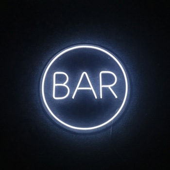 2020 Customized Circle Clear Acrylic Back LED Neon Signs for Bar