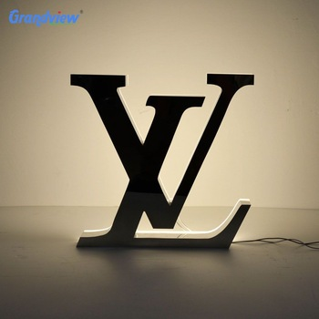 Back lit LED mirror stainless steel galvanized letters decorative metal sign light box sign with acrylic backing