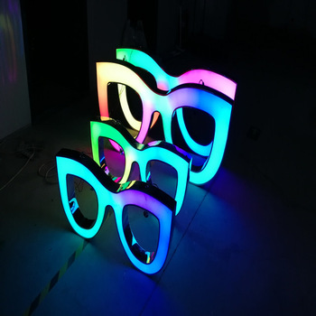 rgb acrylic optical shape 3d led channel letter sign business optical shop outdoor signage