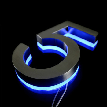 3D Led Plaque Anodized Gold Backlit Letters Portable Stainless Steel Number Signs