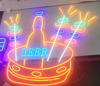 party led light roll cloud shaped white glass neon sign with acrylic