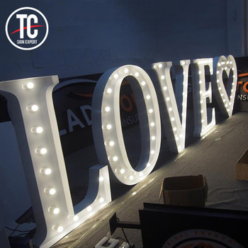 Large standing Wedding LOVE Led Bulb Letters