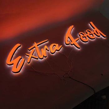 High Quality led store sign orange color double sided led letter sign for outdoor