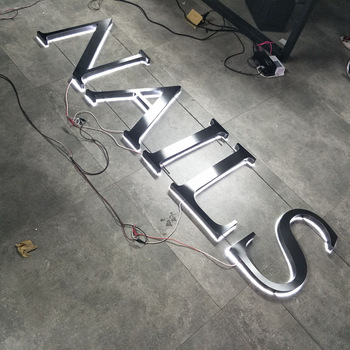 outdoor brushed stainless steel channel letter sign black titanium signage advertising logo