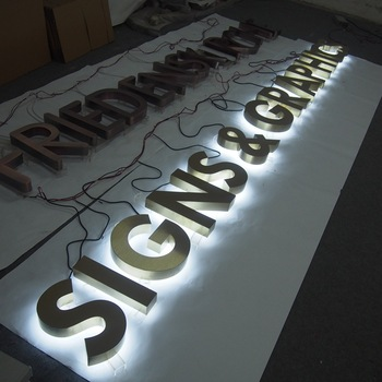 production company wall LOGO outdoor advertising Stainless steel back light Text led light letter paint led backlit word sign
