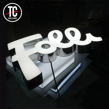 company advertisement logos Custom led channel metal letters 3d logo used outdoor lighted signs