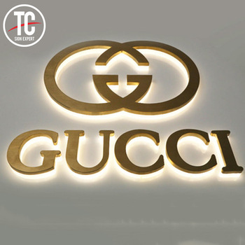 Promotion Golden Stainless steel LED backlit advertising acrylic back sign