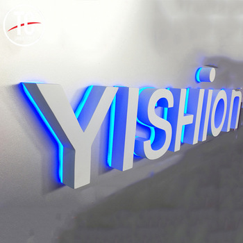 Clothing store acrylic stainless steel backlit 3d sign letters