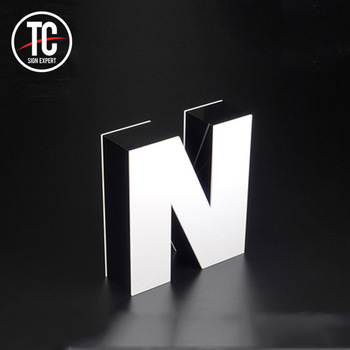 3d Letter Outdoor led shop name board design front and back light sign