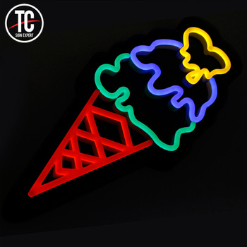 Outdoor Waterproof  Custom Made Led Color Changing  Ice Cream Shop Logo Neon Sign