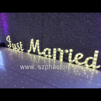 Wedding Decoration Outdoor Giant Cursive Just Married Lighted Marquee Letters