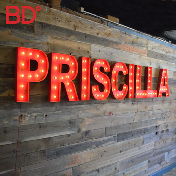 Hot Sale Custom Made Metal Luminous Marquee Signs High quality LED front lit large bulb letters