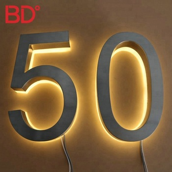 Metal Brushed Backlit Signage Stainless Steel Led Illumanited House Numbers for Hotel Room Door Numbers
