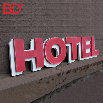 Outdoor Decorative 3D Hotel Sign Plastic PVC Signage Free Standing Led Pub Sign Board