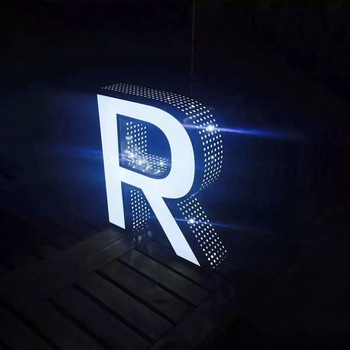 Store front led edge lit channel letter sign side punching advertising letter signs