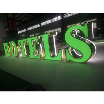 Customized hotel outdoor double side led direction name sign with trim cap