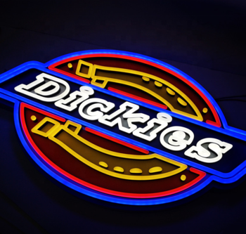Hot sale Dickies led neon logo sign light store front logo sign